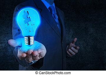 ビジネスマン, 手, ショー, ライト, そして, 困惑, 協力