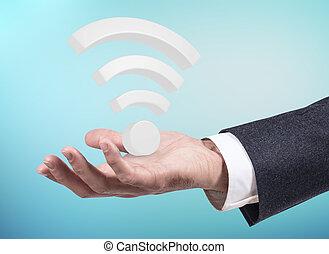 ビジネスマン, 手, プレゼント, 大きい, 無線, wifi, シンボル。, 3d, レンダリング