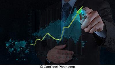 ビジネスマン, 手, 仕事, ∥で∥, 新しい, 現代, コンピュータ, そして, ビジネス戦略, ∥ように∥, 概念