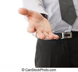 ビジネスマン, 手, 助け, 手を伸ばす