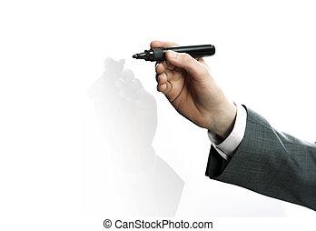 ビジネスマン, 手, 図画, 中に, a, whiteboard