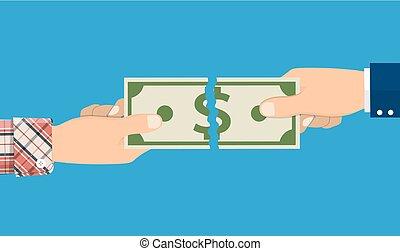 ビジネスマン, 手, 引き裂くこと, お金, 紙幣