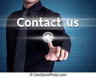 ビジネスマン, 手, 押す, 私達に連絡しなさい