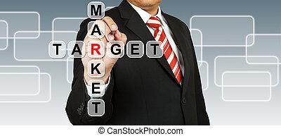 ビジネスマン, 手, 標的市場, 図画