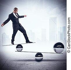 ビジネスマン, 技能, の, バランス