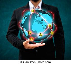 ビジネスマン, 技術, 概念, 保有物, 世界