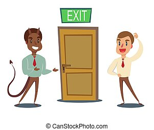 ビジネスマン, 招待, 開いた, door., 悪, 悪魔, 男性