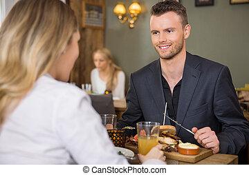 ビジネスマン, 持つこと, 女性, 食事