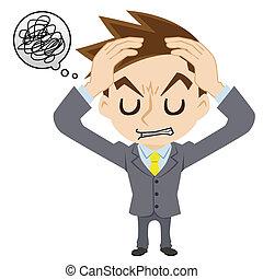 ビジネスマン, 持つ, 頭痛