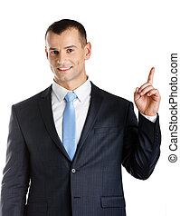 ビジネスマン, 指すこと, ジェスチャー, 手