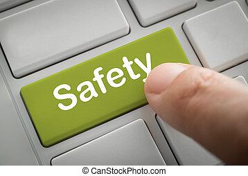 ビジネスマン, 指, 出版物, 中に, 安全, ボタン
