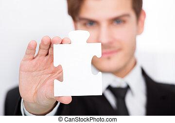 ビジネスマン, 提示, ジグソーパズル