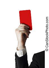ビジネスマン, 提示, レッドカード