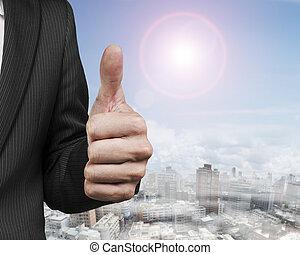 ビジネスマン, 提示, 手アップ, 親指