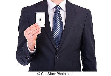 ビジネスマン, 提示, 遊び, card.