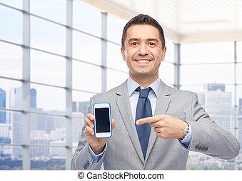 ビジネスマン, 提示, smartphone, スクリーン, 幸せ