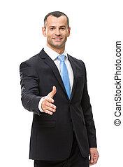 ビジネスマン, 握手, 半分長さ, ジェスチャーで表現する, 肖像画