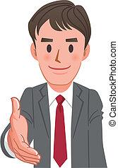 ビジネスマン, 握手, 延長, 漫画