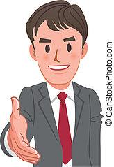 ビジネスマン, 握手, 漫画