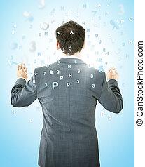 ビジネスマン, 数, アルファベット