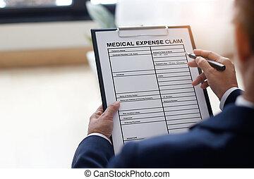 ビジネスマン, 文書, 保険, 保護, 点検, オフィス, 概念, 形態, 完了, 仕事, 要求
