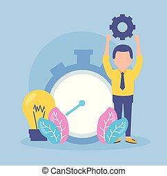 ビジネスマン, 時計, 時間