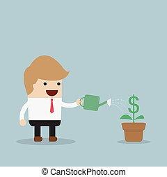 ビジネスマン, 植物, 水まき, ドル