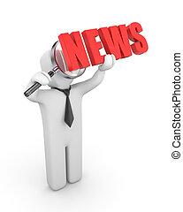 ビジネスマン, 検査する, ニュース
