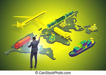 ビジネスマン, 概念, 世界的である, ロジスティクス