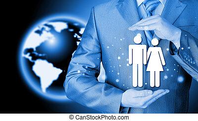 ビジネスマン, 概念, 保険, 家族, 保護