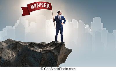 ビジネスマン, 概念, 勝者, ビジネス
