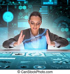 ビジネスマン, 概念, 取引, 未来派