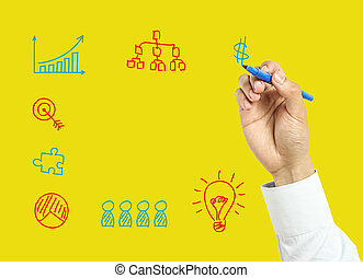 ビジネスマン, 概念, 図画, ビジネス, 手