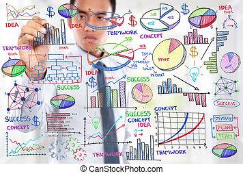 ビジネスマン, 概念, 現代, 図画, ビジネス