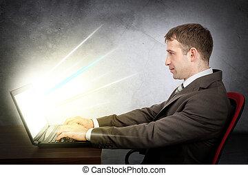 ビジネスマン, 概念, laptop., e- ビジネス