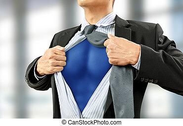 ビジネスマン, 概念, superhero, 衣装