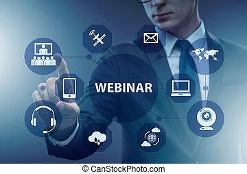 ビジネスマン, 概念, webinar, オンラインで