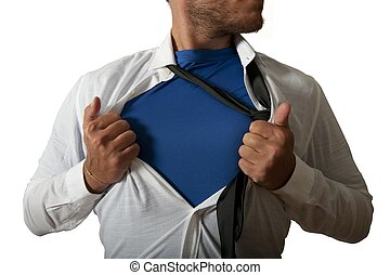 ビジネスマン, 機能, のように, a, スーパーヒーロー