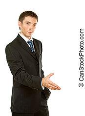 ビジネスマン, 歓迎, 腕, ジェスチャー, から