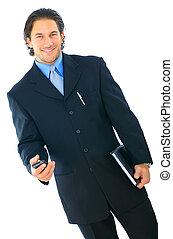 ビジネスマン, 歩くこと, 幸せ, 若い, 隔離された