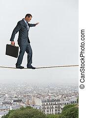 ビジネスマン, 歩くこと, 横切って, 綱