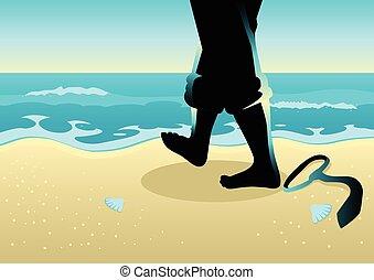 ビジネスマン, 歩くこと, 浜