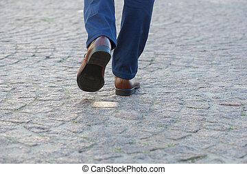 ビジネスマン, 歩くこと, 脚アップ, 終わり
