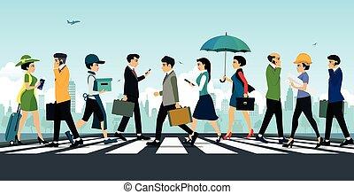 ビジネスマン, 歩くこと