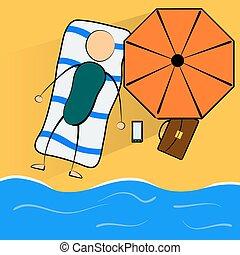 ビジネスマン, 浜, リラックスする, 漫画