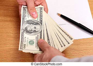 ビジネスマン, 渡ること, お金, ∥で∥, 契約, 上に, ∥, 背景