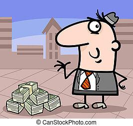 ビジネスマン, 漫画, イラスト, お金