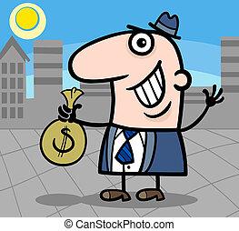 ビジネスマン, 漫画, イラスト, 幸せ
