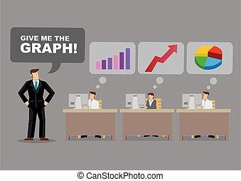 ビジネスマン, 漫画, 要求, グラフ