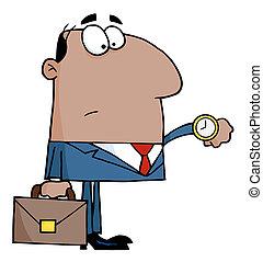 ビジネスマン, 点検, 彼の, 腕時計